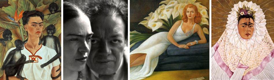 Frida Kahlo, Autoportrait aux singes, 1943. Huile sur toile, 81,5 x 63 cm. // Martin Munkácsi, Frida et Diego, 1934. Épreuve argentique, 35,6 x 27,9 cm. // Diego Rivera, Portrait de Natasha Gelman, 1943. Huile sur toile, 115 x 153 cm. // Frida Kahlo, Diego dans mes pensées (Autoportrait en Tehuana), 1943. Huile sur Masonite 76 x 61 cm. La coll. Jacques and Natasha Gelman d'art mexicain du 20e siècle et la Vergel Foundation (Groupe CNW/Musée national des beaux-arts du Québec)