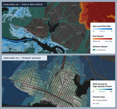 UrbanFootprint's built-in data and toolset allows users to quickly understand critical urban insights like climate and hazard impacts and accessibility to transportation hubs or points of interest.