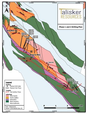 Figure 1, Phase 1 and 2 Drilling Plan (CNW Group/Talisker Resources Ltd)