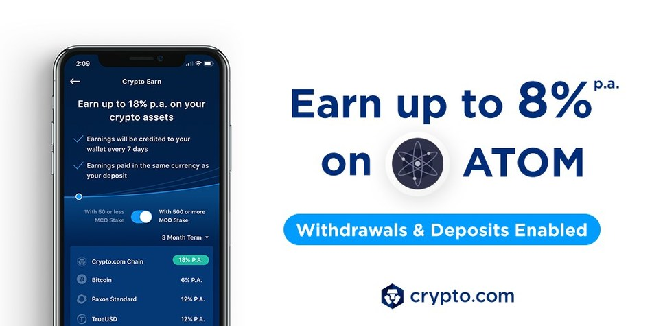 Crypto Earn: Now Earn Up to 8% p.a. on ATOM Deposits, paid in ATOM