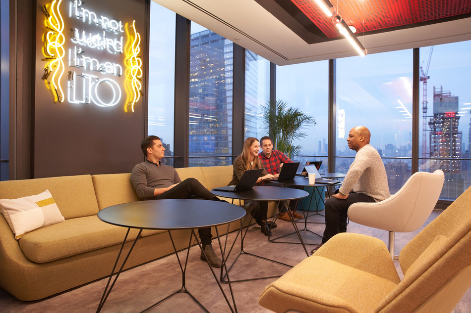Diageo NA's new headquarters features bright, open spaces, designed to maximize collaboration and flexible working styles.