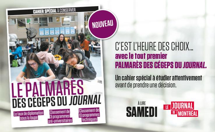 Le premier Palmarès des cégeps du Journal de Montréal et du Journal de Québec sera publié samedi, le 15 février. (Groupe CNW/Journal de Québec)