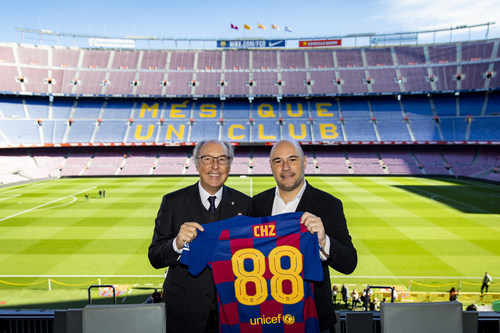 Josep Pont (left), Board of Directors Member & Head of the Commercial Area of FC Barcelona, with Alexandre Dreyfus (right), CEO of Chiliz & Socios.com at the signing of the official agreement at Camp Nou, Barcelona. (PRNewsfoto/Chiliz)