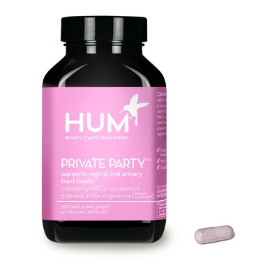 HUM Nutrition's PRIVATE PARTY was specifically formulated with clinically-proven nutrients to support vaginal and urinary tract health in one convenient daily oral capsule. Scientific studies have shown that 36mg of the antioxidant in cranberry extract, called proanthcyanidins (or PACs, for short), is proven to be effective in protecting the urinary tract. Three common beneficial vaginal probiotic strains were also carefully selected to balance yeast and maintain a healthy vaginal pH.