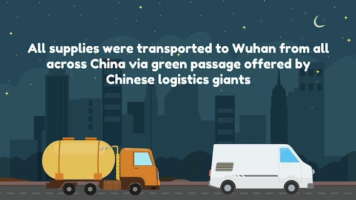 All supplies were transported to Wuhan from all across China via green passenger offered by Chinese logistics giants