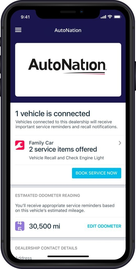 AutoNation's branded experience in the Automatic app allows customers to view service reminders, maintenance notifications and recall alerts with the ability to book an appointment at their local AutoNation service center.