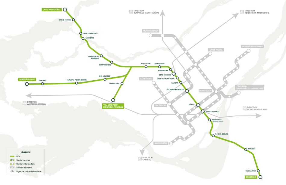 La carte du réseau du REM a été mise à jour afin de tenir compte de ces modifications. (Groupe CNW/Réseau express métropolitain - REM)