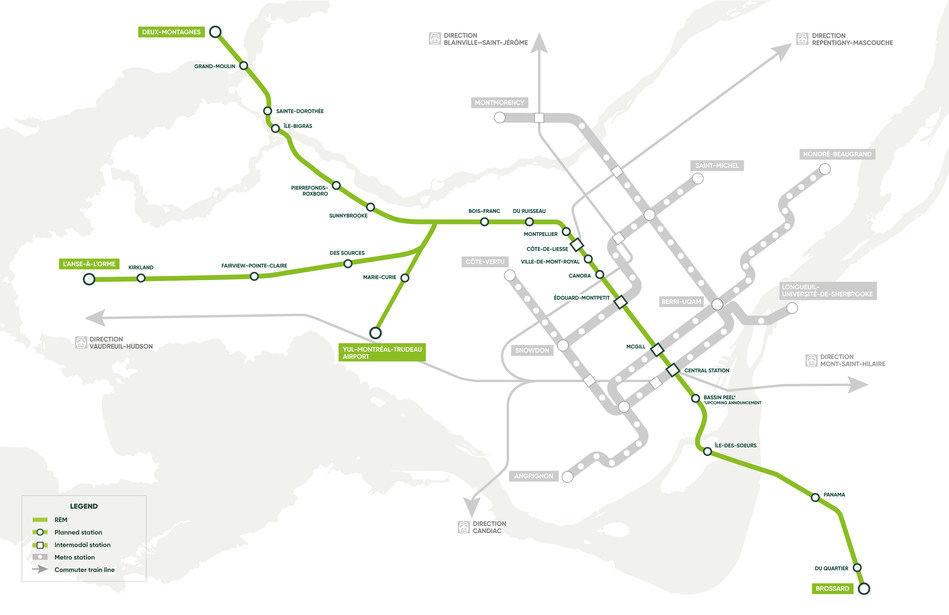 The REM network map has been updated to reflect these changes. (CNW Group/Réseau express métropolitain - REM)