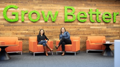 HubSpot VP, Solutions Partner Program, Katie Ng-Mak with New Breed Manager of New Revenue and Partnerships Heather Chevalley at HubSpot's Boston Office.
