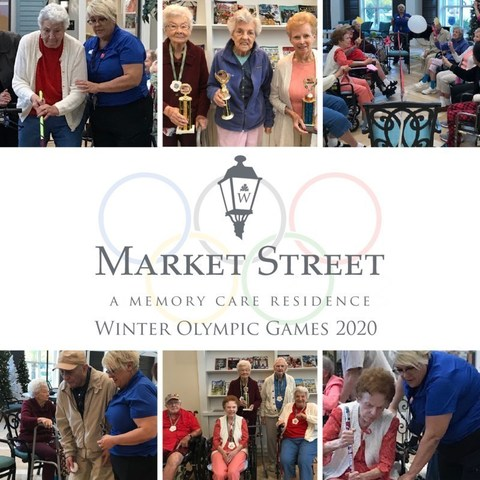 Residents at Market Street Memory Care East Lake enjoy friendly competition and tradition while competing in the Market Street 2020 Winter Olympic Games in East Lake, Fla.