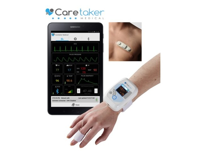 Caretaker Continuous Blood Pressure & Wireless Vital Signs Monitor with ECG Patch