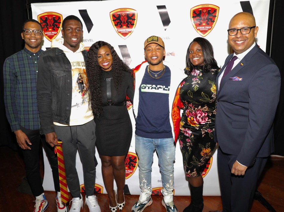 (from left to right): Girard Hardy (Brand Director, Bevel), Kendrick Nunn (Miami Heat), Kendra G. (Radio Host, WGCI-FM), Jacob Latimore (Actor/Musician), Tia Cummings (Head of Marketing, Bevel), and Tim King (Founder and CEO, Urban Prep Academies for Young Men) (Photo: Waylan Phillips/Bevel)