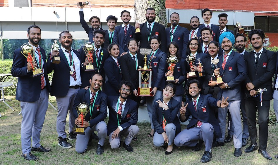 Winning team of Chandigarh University with overall Championship Trophy of AIU National Youth Festival