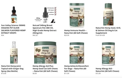 CBD Products for Pets now available on the company's eCommerce site www.USMJ.com.