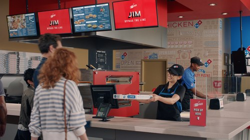 Domino's new Pie Pass technology allows customers who order and pay online to skip the line and grab their order.