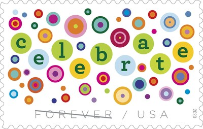 The Postal Service has the perfect decoration for your invitations and happy cards & letters: the new Let's Celebrate! stamp!