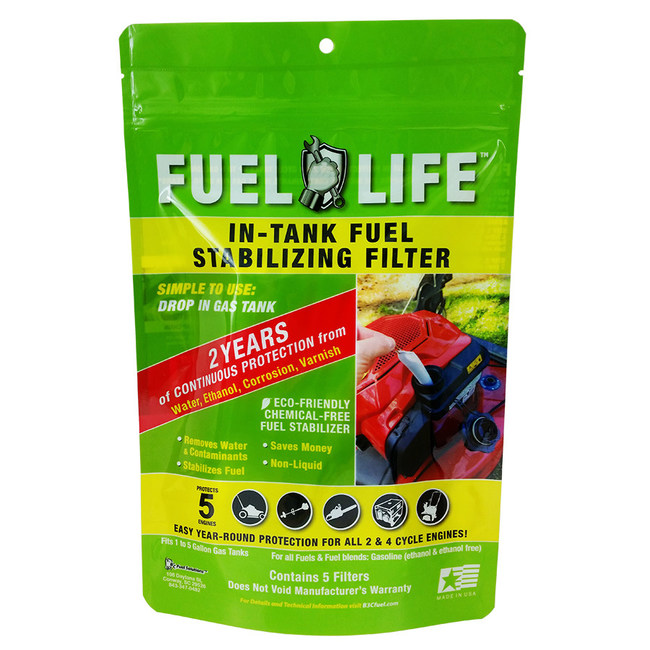 Fuel Life is an easy, clean, drop-in-the-tank (on machine or feeder can) fuel stabilizing filter. Two patents: 1. Water Removal, 2. Contaminant Removal. Clean and Dry gasoline can not go bad for up to two years. B3CFuel.com.