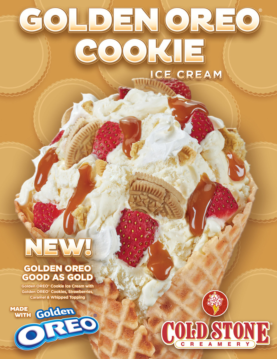 Golden OREO® Good as Gold™ Creation is made with Golden OREO® Cookie Ice Cream, Golden OREO® Cookies, Strawberries, Caramel and Whipped Topping.