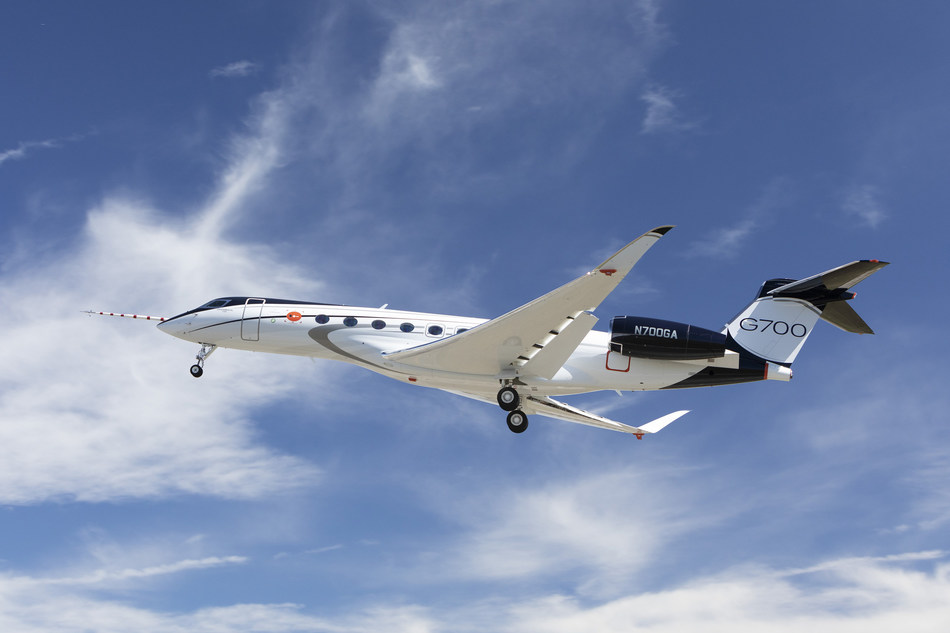 A Gulfstream G700 takes off from Savannah-Hilton Head International Airport on February 14, 2020, marking the first flight of the new business jet and official start of its flight-test program. Gulfstream is a subsidiary of General Dynamics.