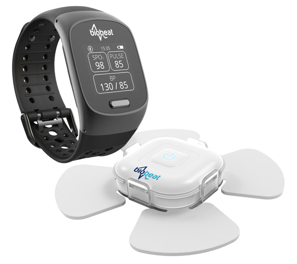 The Biobeat smartwatch and patch connect to the cloud through either a smartphone or a dedicated gateway. Each device is intended for use in different use cases, where the user must wear only one of the two devices. The watch is to be worn on the wrist while the patch is to be placed anywhere on the upper torso. (PRNewsfoto/Biobeat)
