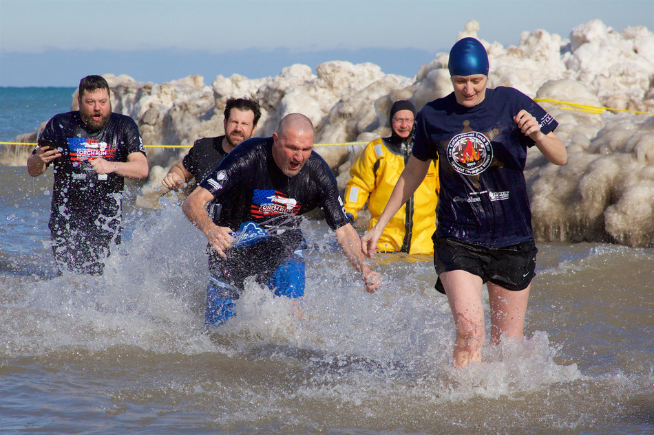 Warm-hearted individuals take an icy dip once an hour for 24 hours in Lake Michigan in support of Special Olympics Illinois athletes that compete statewide.