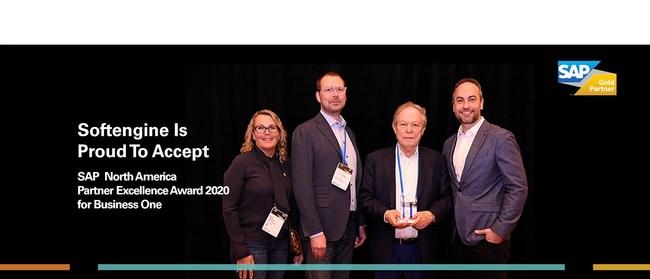 Softengine Founder Joseph Lasman and President Jesper Olesen accept SAP partner of the year award.