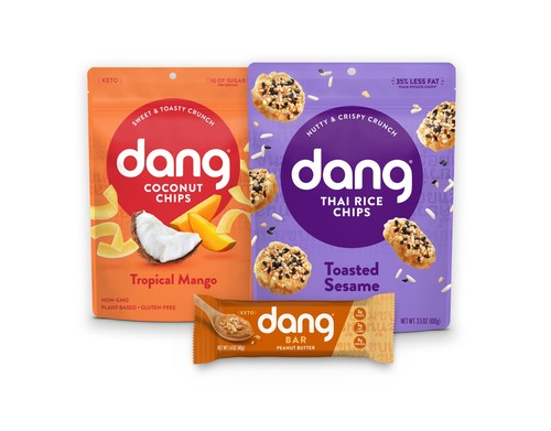 Dang Foods announced the rollout of three new flavors: Tropical Mango Coconut Chips, Toasted Sesame Thai Rice Chips and Peanut Butter Dang Bar.