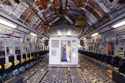 The CBCS units are flight-ready containerized biocontainment systems that roll on and off of planes. The units containerize highly contagious pathogens, are extremely durable and allow for the safe transport of patients while maintaining biocontainment and safe flight.