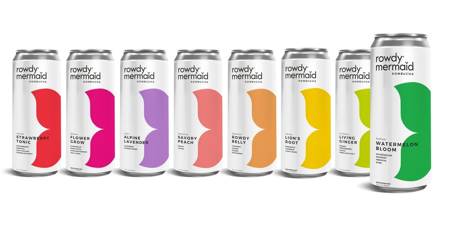 Full lineup of function-forward flavors from Rowdy Mermaid Kombucha, now featuring Watermelon Bloom, on store shelves June 2020