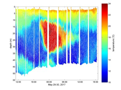 Image: Red colors show a warm and salty pocket of submerged Gulf Stream water on the North Carolina shelf as measured by an NRL glider on May 29-30, 2017. The dots, which make up the graph composite, are individual temperature measurements taken as the glider descends and climbs in depth. The gaps in measurement occur when the glider is on the surface transmitting recent measurements back to Stennis Space Center for use in correcting the forecast model for this region. (U.S. Naval Research Labor