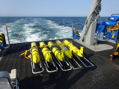 The U.S. Navy maintains a large fleet of ocean gliders for environmental measurement. Ocean gliders are slow-moving, long-endurance, underwater vehicles that gather data as they travel through the ocean's interior using high-efficiency buoyancy engines. (U.S. Naval Research Laboratory)