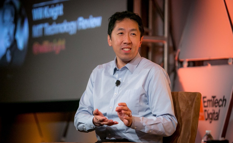 Andrew Ng, Landing AI and Deeplearning.ai, on stage at EmTech Digital 2019. Photo Credit: MIT Technology Review.