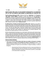 NIGHTHAWK DRILLING AT GOLDCREST INTERCEPTS 15.50 METRES OF 5.47 GPT AU (UNCUT) INCLUDING 4.25 METRES OF 16.98 GPT AU (CNW Group/Nighthawk Gold Corp.)