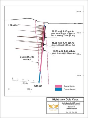 Figure 2.  Cross Section – Goldcrest South - Drillhole G19-05 (CNW Group/Nighthawk Gold Corp.)