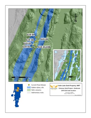 Figure 1.  Plan View (Goldcrest South) - Drillhole Locations (CNW Group/Nighthawk Gold Corp.)