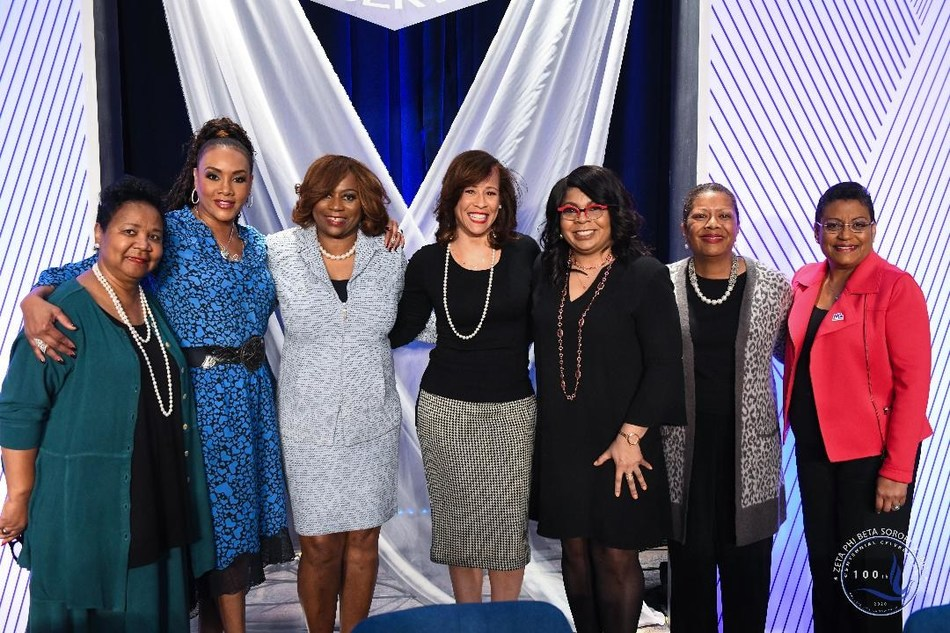 Washington D.C., February 19, 2020 – Zeta Phi Beta Sorority, Inc. convened a group of women leaders to explore the issues that impact Black women during its Finer Womanhood Empowerment Summit held at the Washington Hilton on Jan. 18. Panelists included (left to right): Mattie McFadden- Lawson; Vivica A. Fox; Valerie Hollingsworth Baker, Zeta International Centennial President; Collette V. Smith; April Ryan, moderator; Edna Kane Williams, and Stacey D. Stewart.