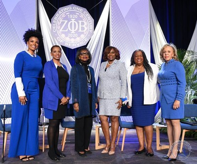 Washington D.C., February 19, 2020 – Zeta Phi Beta Sorority, Inc. hosted the Finer Womanhood Empowerment Summit at the Washington Hilton on Jan. 18, inviting women leaders to share how they found their voices to become community advocates. Participants on panel two included (left to right): Syleena Johnson, moderator; former Congresswoman Donna Edwards; Anita Hill, Esq.; Valerie Hollingsworth Baker, International Centennial President; Elisabeth Omilami; and Dr. Joyce N. Payne.