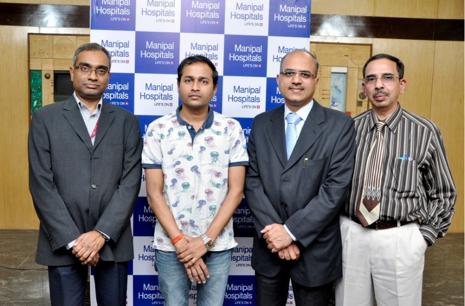 (L- R)  Dr. Karthik Prabhakar, Consultant, Diabetes & Endocrinology,   Manipal Hospitals Bangalore, Mr. Jagadeesh Ratha (patient), Dr. Praveen M Ganigi, Consultant, Neurosurgery,  Manipal Hospitals and Dr. G S Nagaraja Prabhakar, Consultant, Anesthesiology, Manipal Hospitals Bangalore Bangalore sharing details on this rare tumor and the challenging surgery.