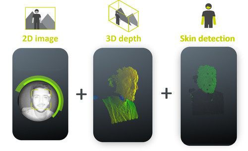 TrinamiX extracts three data streams at the same time: 2D image, 3D depth map and skin detection (PRNewsfoto/trinamiX GmbH)