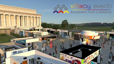 Example of Virtway Events scenario. A fair environment with individualized stands and spaces where participating companies can attend to attendees in real time via personal avatars. All equipped with any necessary audiovisual resources: videos, presentations, images, etc.