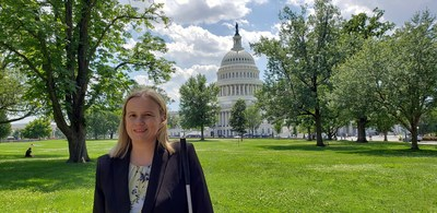 AFB Director of Public Policy Stacy Cervenka, standing on the lawn outside the US Capitol building.
