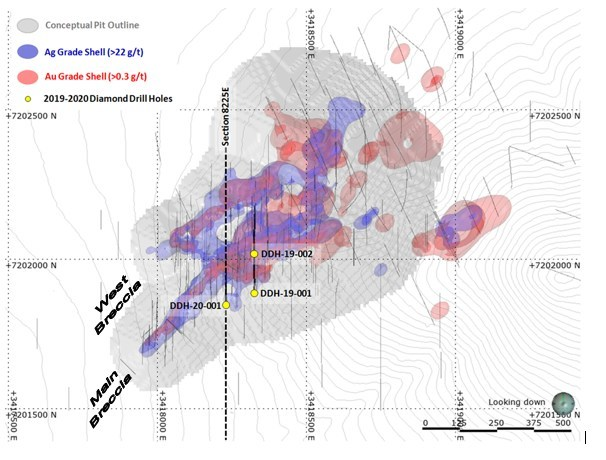 Figure 1 – Plan Map of Oculto Zone with 2019-2020 Drill Holes (CNW Group/AbraPlata Resource Corp.)