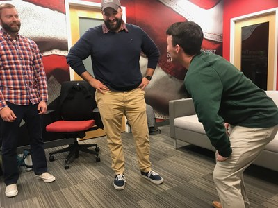 Christian Etherton, Dominic Royce, and Alex Palmer are three of the veterans participating in the program between Improv Asylum and Northeastern University. (Photo: Michael Pasqua)