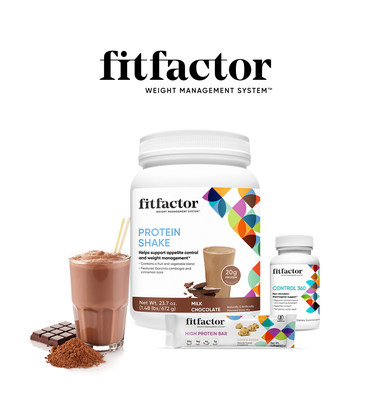 The fitfactor Weight Management System™ includes protein shakes, bars, and weight management supplements, combined with online nutrition coaching and community.