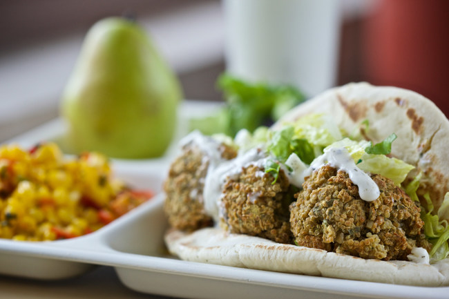 Get Schools Cooking districts will work towards scratch cooking recipes like this falafel pita wrap.