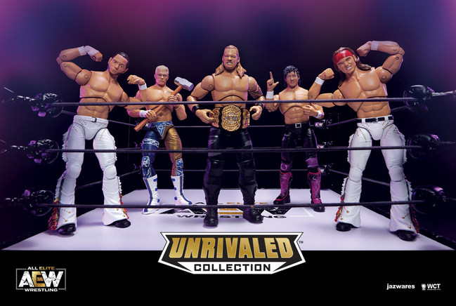 AEW UNRIVALED Collection unveiled at Toy Fair New York featuring AEW talent The Young Bucks, Cody, Chris Jericho and Kenny Omega.