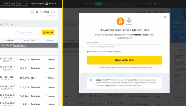 Free Crypto Market Data CSV File Service on http://nomics.com: Nomics.com just launched free CSV file download functionality to all index, Bitcoin price, markets, and history pages.
