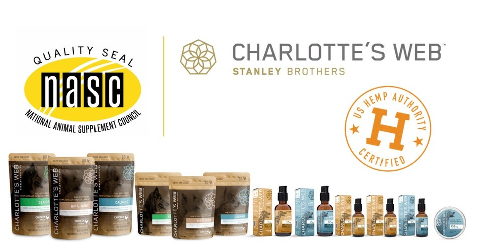 Charlotte's Web Pet Products Approved for NASC Quality and U.S. Hemp Authority Seals (CNW Group/Charlotte's Web Holdings, Inc.)