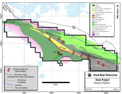 Figure 4: Map of recent regional reconnaissance drilling showing areas with confirmed gold-bearing drill intercepts. (CNW Group/Great Bear Resources Ltd.)