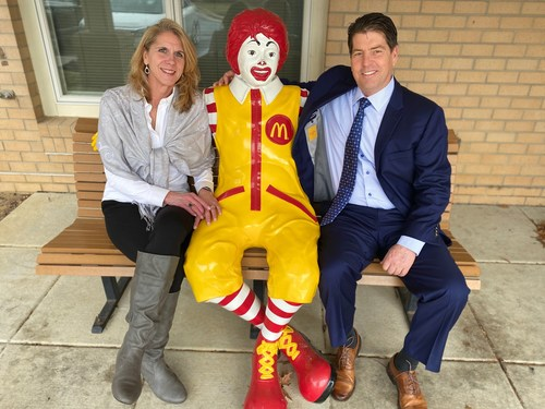 Able Chief Operating Officer Steve Kuhn and Customer Service Manager Melanie Bounds celebrate Able's RMHCDC partnership with Ronald McDonald himself at the wall-breaking ceremony February 4th at the Ronald McDonald House Charities in Washington D.C.
